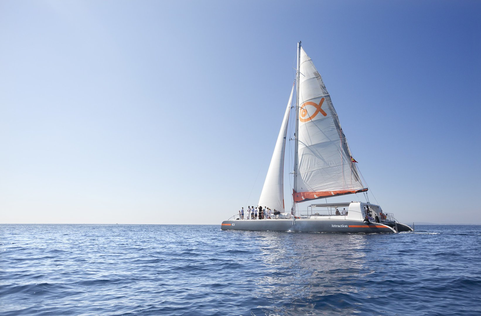 sailing on the catamaran